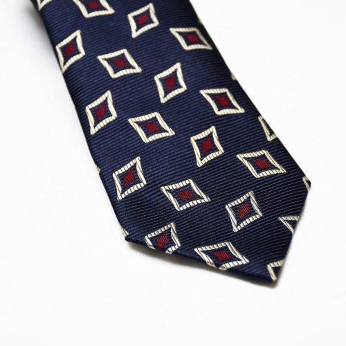 Navy Diamond Pattern Silk Tie