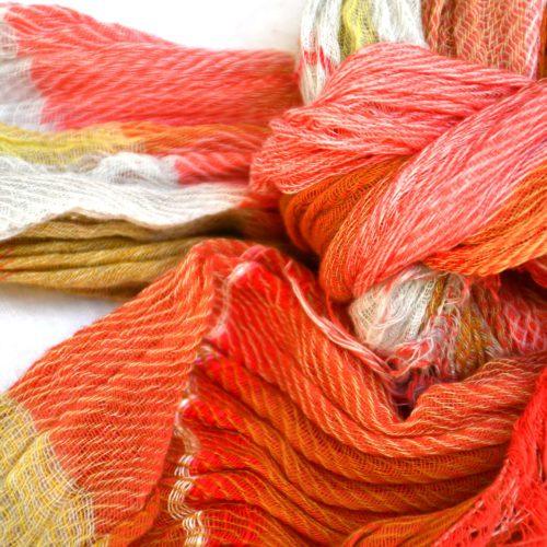 Orange Tamaki Niime Cotton Shawl