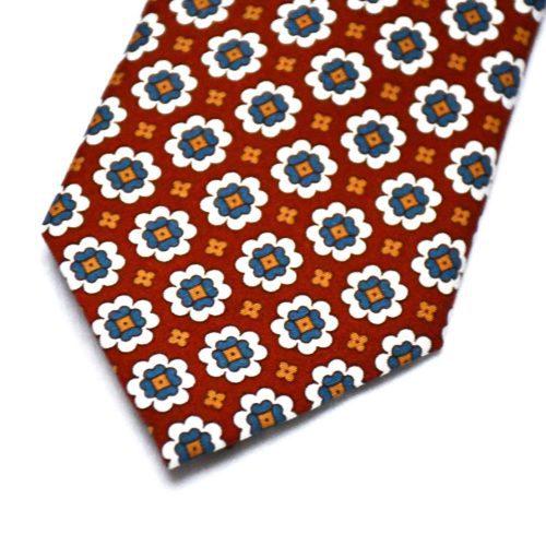 Red Floral Motif Pattern Silk Tie