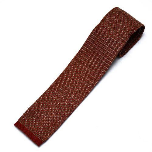 Rust Silk Knitted Tie