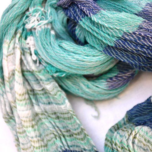 Sea Green/Blue Tamaki Niime Cotton Shawl