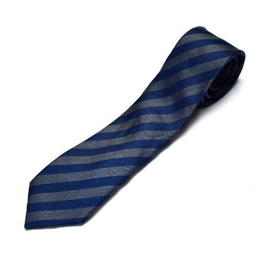 Silver/Navy Club Stripe Tie