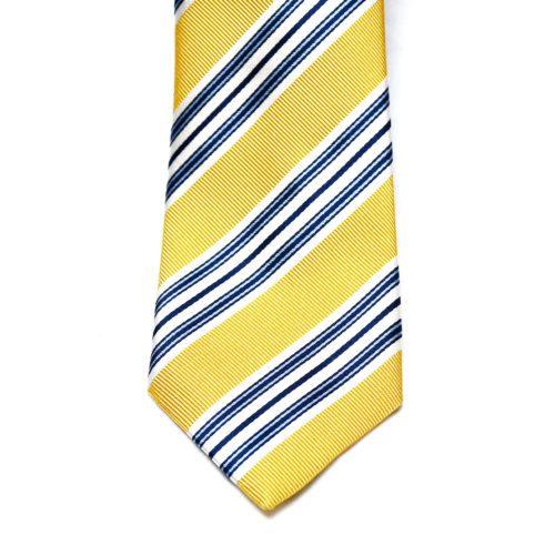 Yellow/Navy Club Stripe Silk Tie