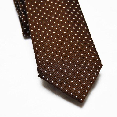 Brown Polka Dot Pattern Silk Tie