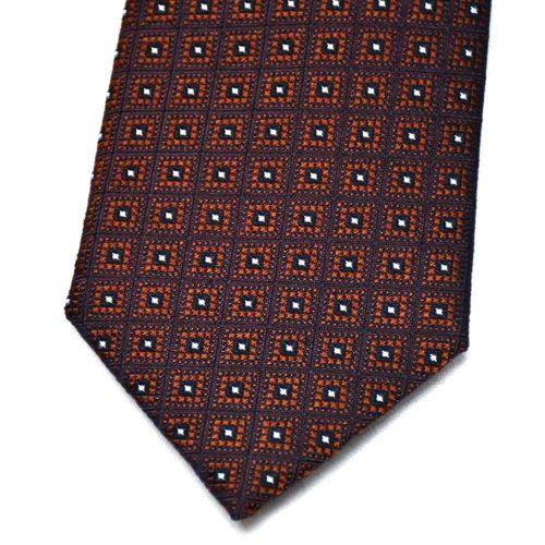 Navy/Brown Pattern Silk Tie