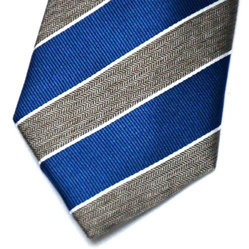 Brown/Navy Regimental Stripe Silk Tie