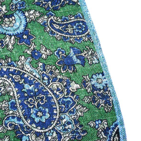 Green Silk/Linen Paisley Patterned Pocket Square