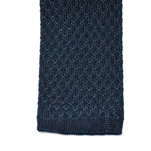 Navy Pattern Silk Knitted Tie