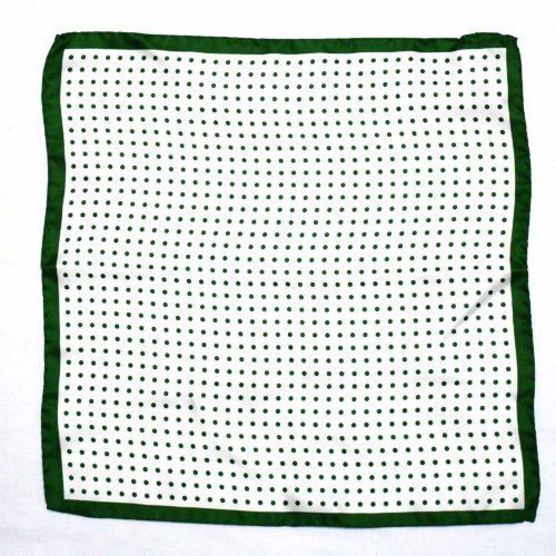 Green Silk Polka Dot Pocket Square