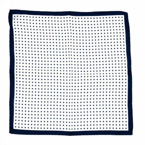 Navy Blue Silk Polka Dot Pocket Square