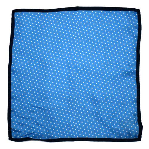 Blue Silk Polka Dot Pocket Square