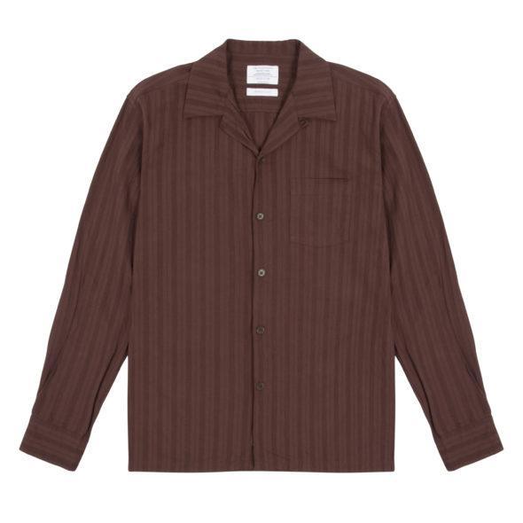 Brown Cotton Linen Mix Long Sleeve Open Collar Shirt