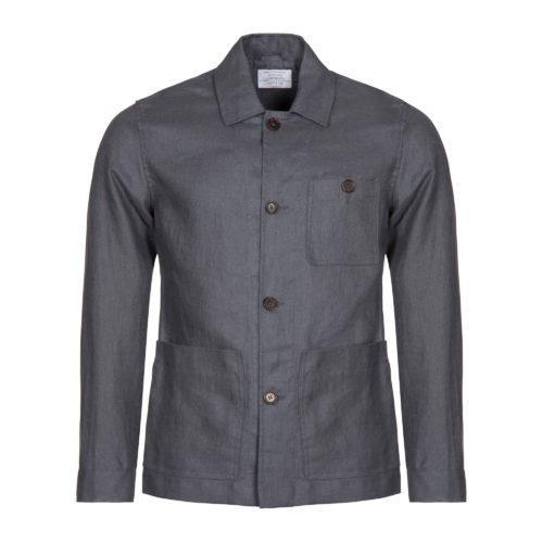 Charcoal Linen Work Jacket