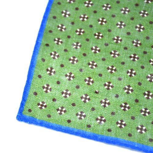 Green Mixed Pattern Silk Pocket Square