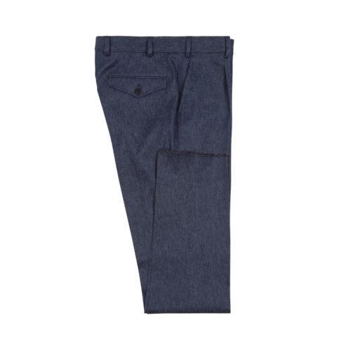 Indigo Cotton Linen Blend Single Pleat Trousers