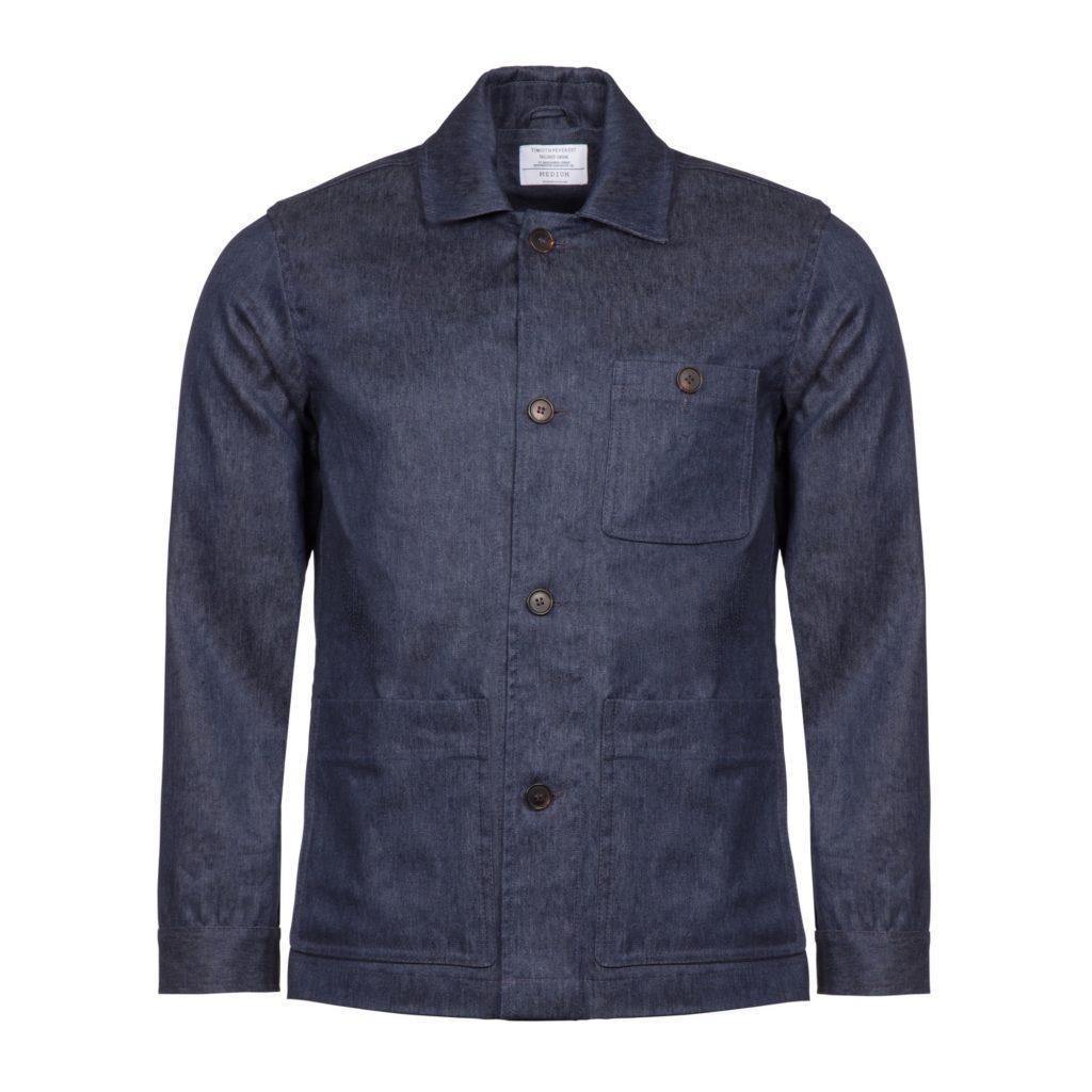 Indigo Linen Cotton Blend Work Jacket