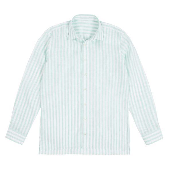 Mint Linen Deck Stripe Shirt