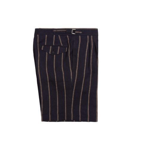 Navy Linen Wide Stripe Pleated Shorts