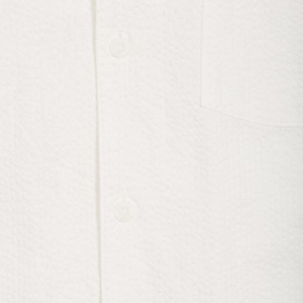 White Cotton Seersucker One Piece Cuban Collar Shirt