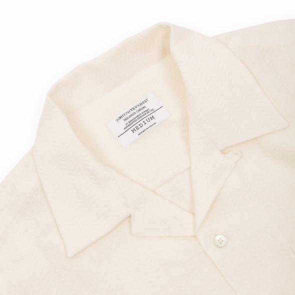 White Linen Long Sleeve Open Collar Shirt