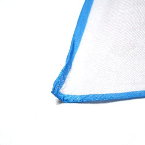 White with Blue Border Linen Pocket Square