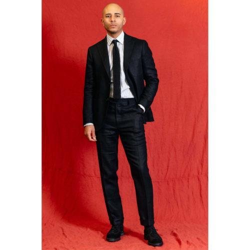 Black Washed Programme Linen Jacket