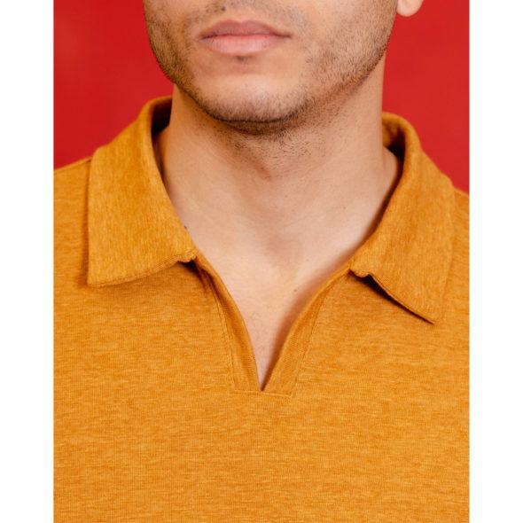 Mustard Cotton Knit Open Collar Polo