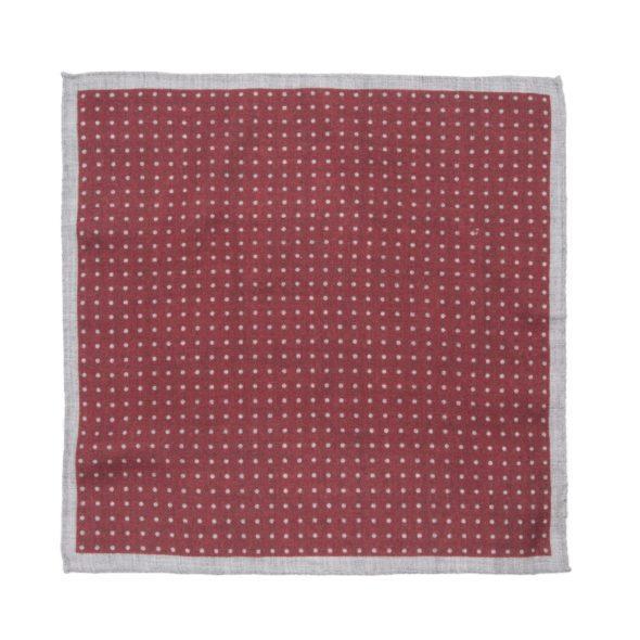Red Polkadot Wool Pocket Square