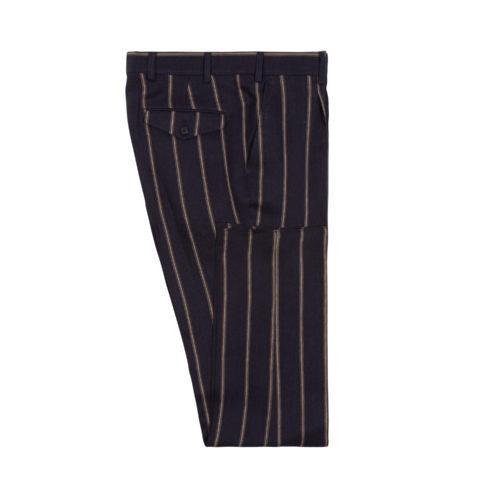 Navy Linen Wide Stripe Single Pleat Trousers