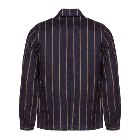 Navy Wide Stripe Linen Work Jacket