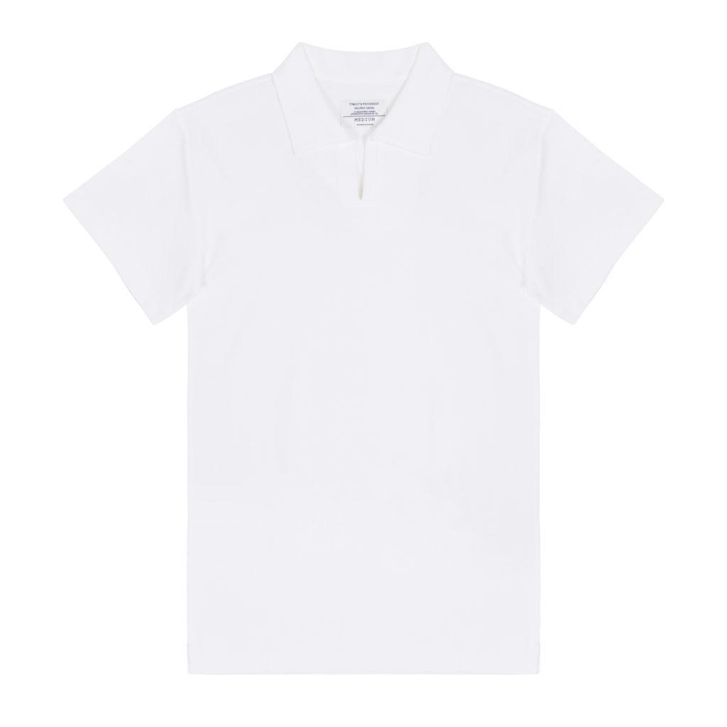White Cotton Waffle Knit Open Collar Polo