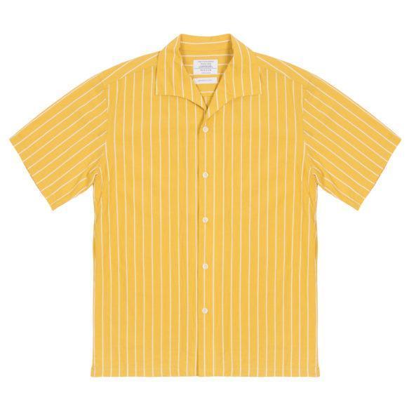 Yellow Striped Cotton One Piece Cuban Collar Shirt