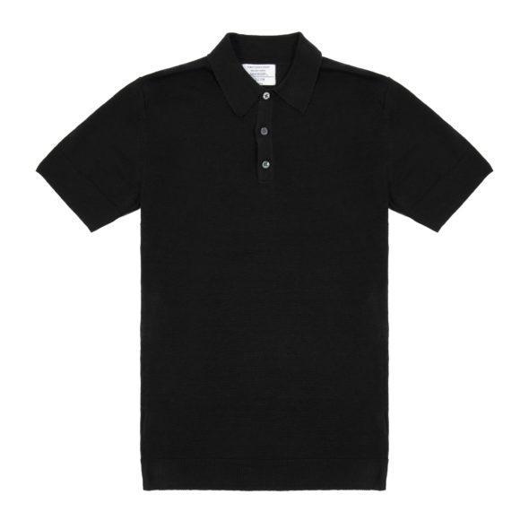 Timothy Everest | Black Linen Short Sleeved Polo 1