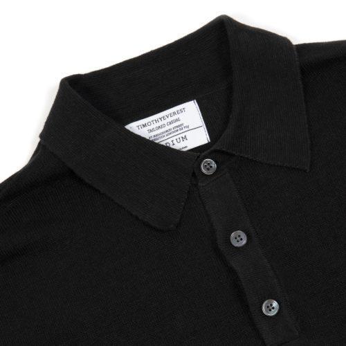 Black Linen Short Sleeved Polo