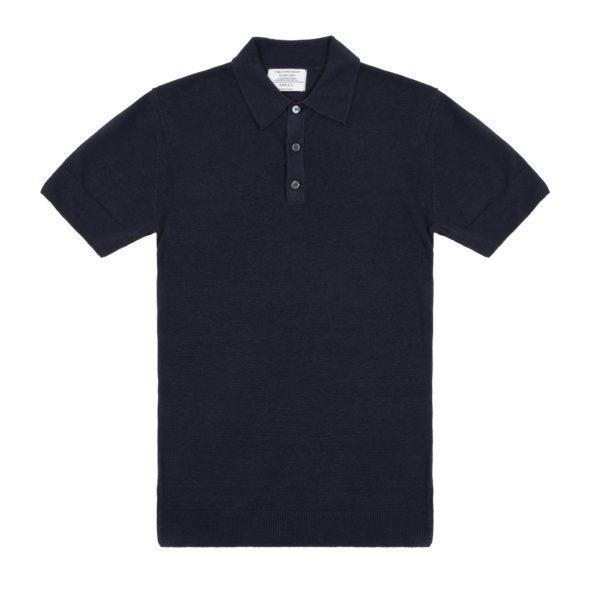 Timothy Everest | Navy Blue Linen Short Sleeved Polo 1