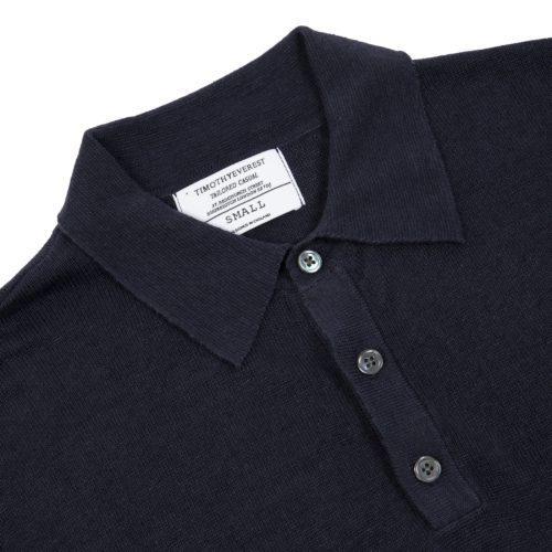 Navy Blue Linen Short Sleeved Polo