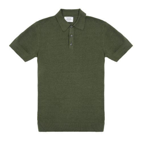 Olive Green Linen Short Sleeved Polo