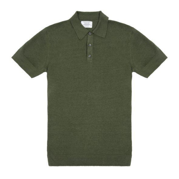 Timothy Everest | Olive Green Linen Short Sleeved Polo 1