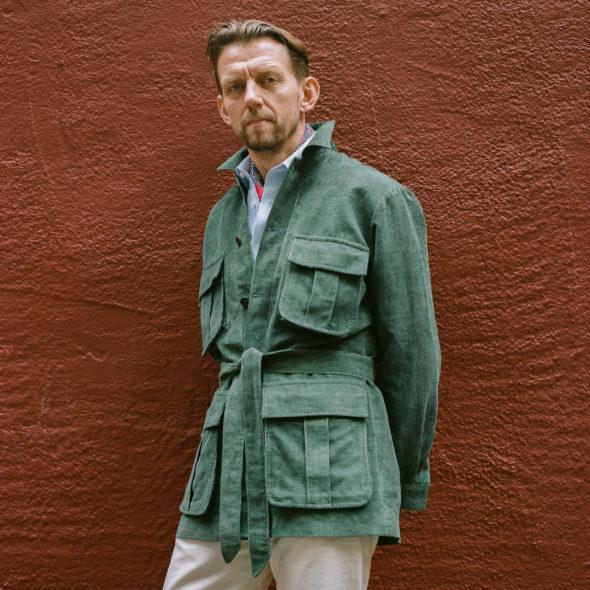 Green Cord Safari Jacket
