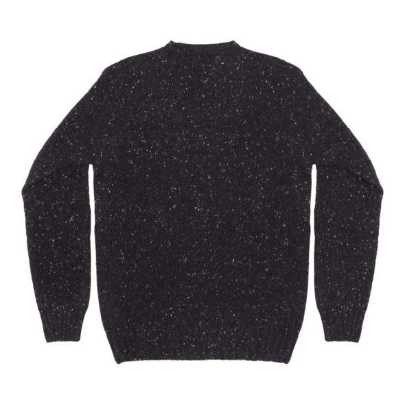 Black Donegal Merino Wool Crew Neck