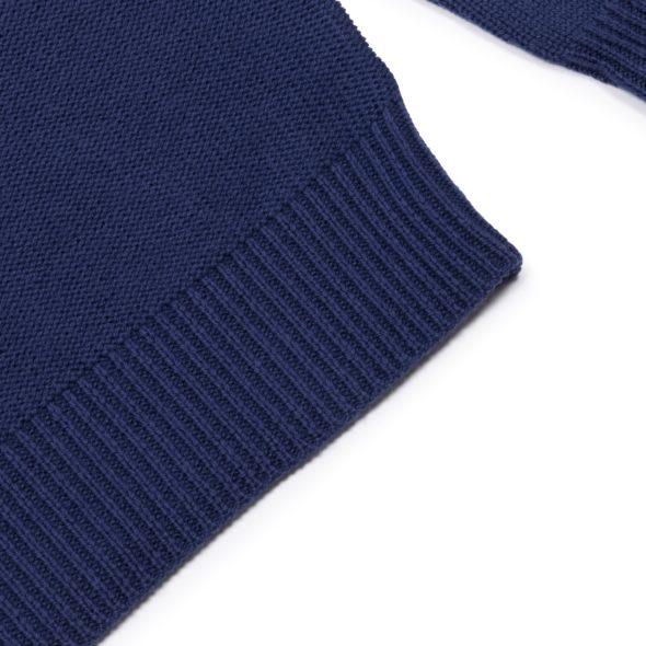 Marine Merino Wool Reverse Stitch Roll Neck