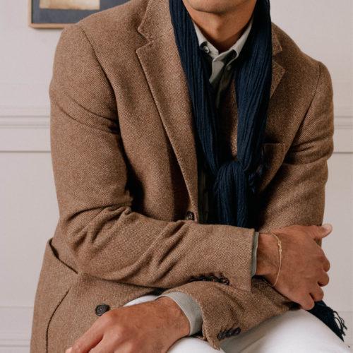 Brown Hopsack Washed Wool Simplon Jacket