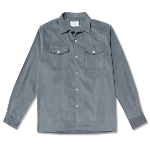 Light Blue Needlecord Open Collar Shirt
