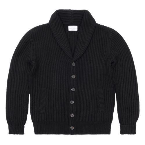 Black Merino Wool Ribbed Shawl Collar Cardigan