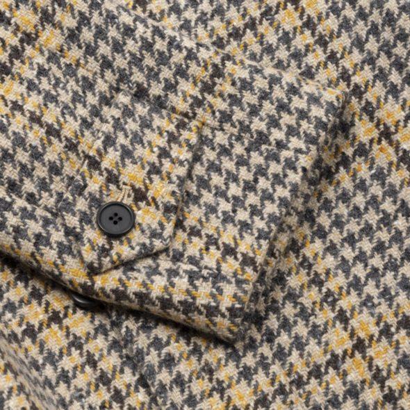 Houndstooth Tweed Check Raglan Coat