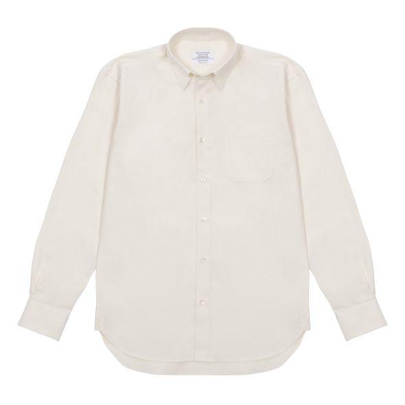 Ivory Brushed Cotton Twill Hoxton Shirt