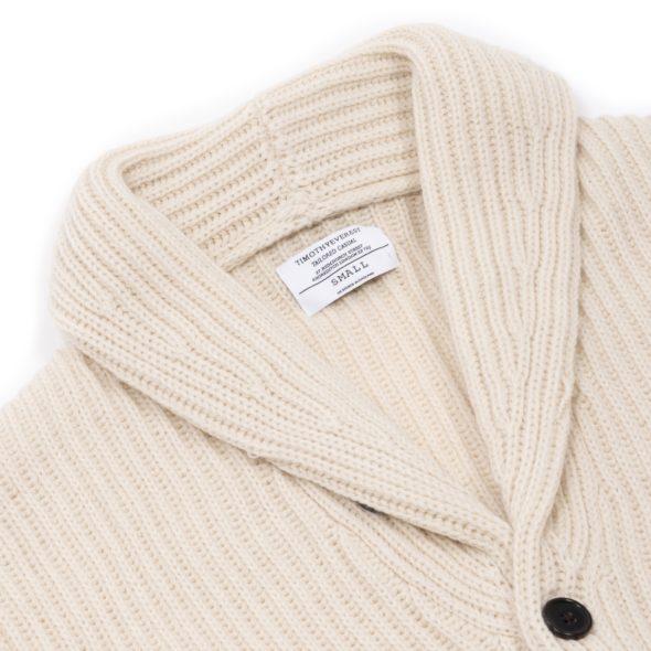 Ivory Merino Wool Ribbed Shawl Collar Cardigan