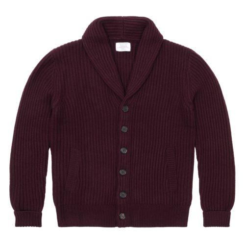 Merlot Merino Wool Ribbed Shawl Collar Cardigan