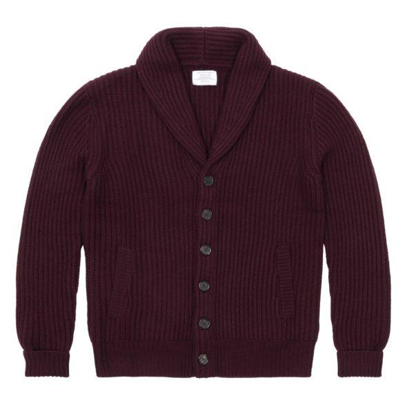 Merlot Green Merino Wool Ribbed Shawl Collar Cardigan