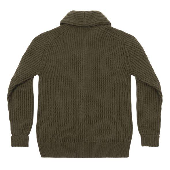 Moss Green Merino Wool Ribbed Shawl Collar Cardigan